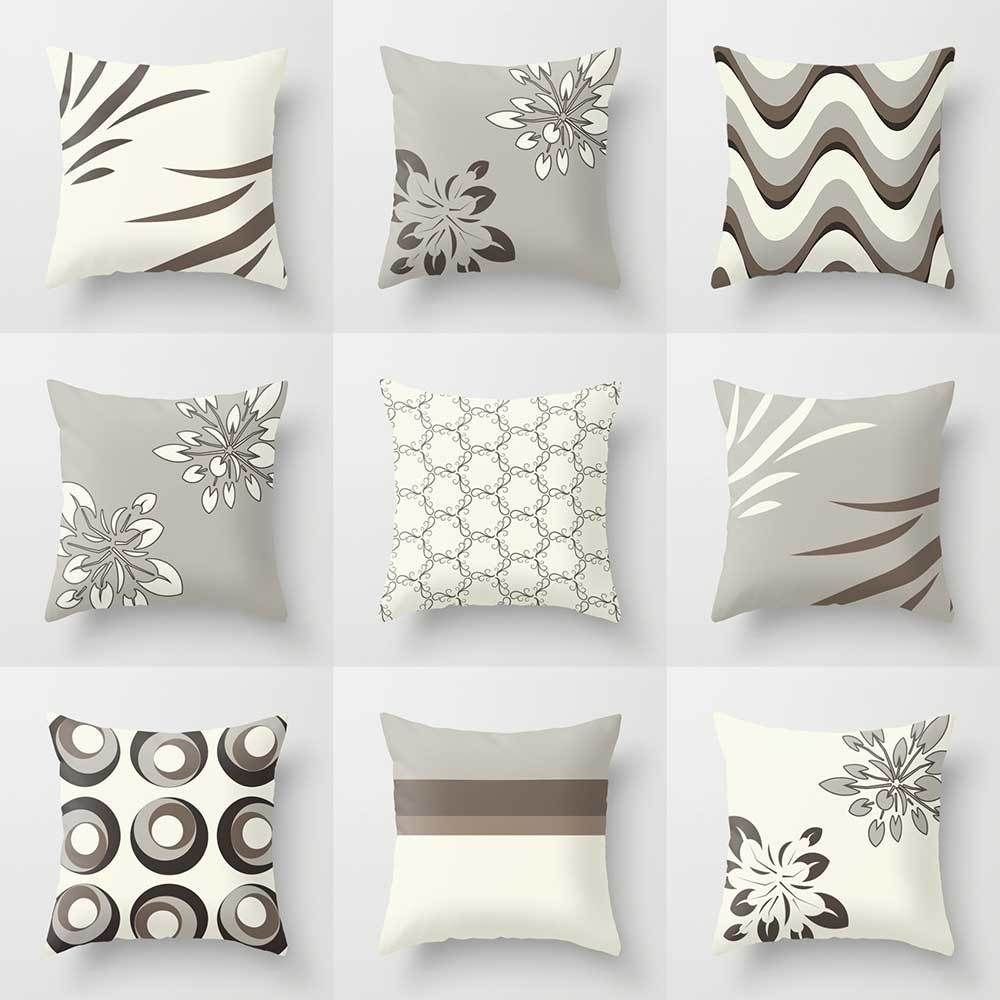 Decorative Pillow Covers Throw Pillow Shams Gray Brown Cushion