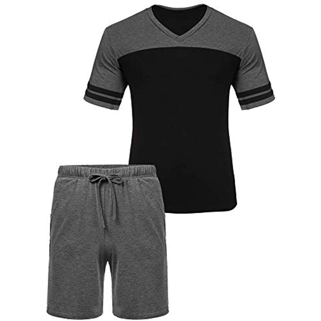 Herren Schlafanzug Zweiteiliger Pyjama Set Shorty Männer