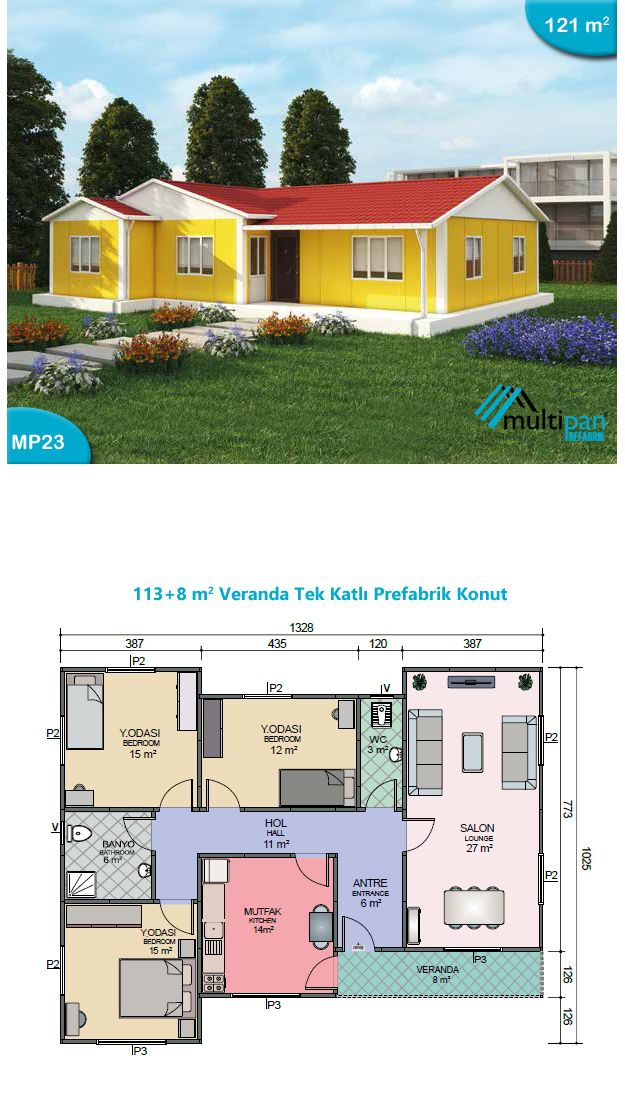 Mp23 113m2 8m2 3 bedrooms 2 bathrooms separate lounge for Two bedroom hall kitchen house plans