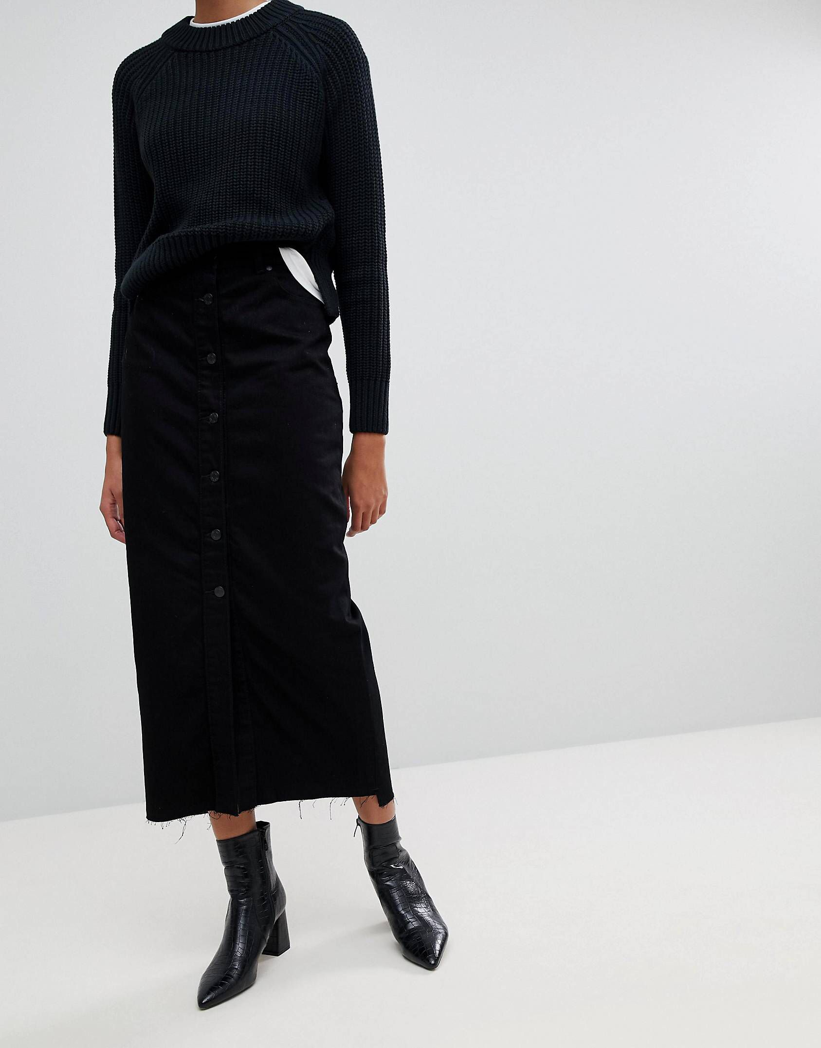 Pay With Paypal Online Venla Step Hem Button Front Maxi Skirt - Black Dr. Denim With Credit Card Cheap Online Clearance Big Sale How Much Online TkIypd0eB