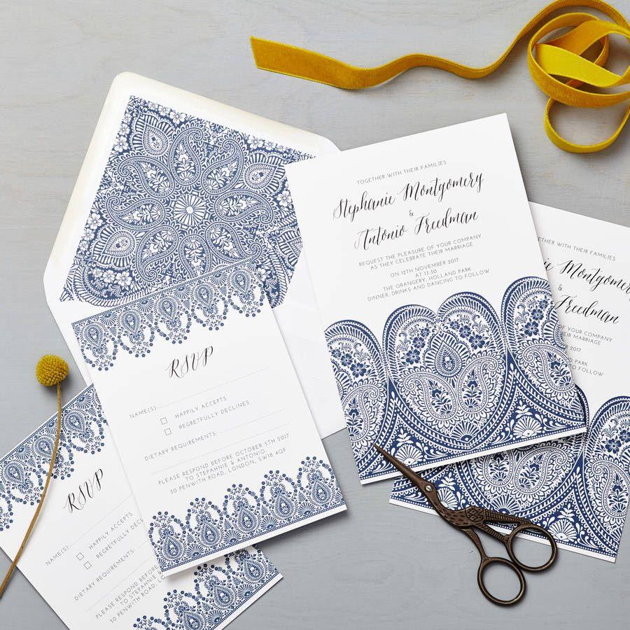 Indian Summer Indigo Wedding Invitation Set | Indigo wedding ...