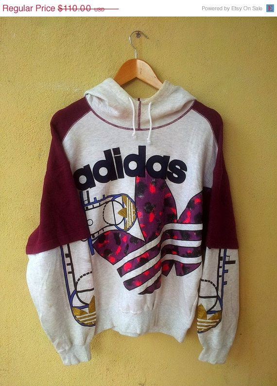 25% SALE Vintage 1990s Adidas Run DMC Big Logo Sweater