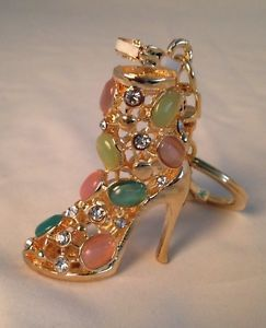 High-Heels-Shoe-gold-Keyring-Bling-Diamante -Enamelled-Figurine-With-Free-Clip a1189de6a