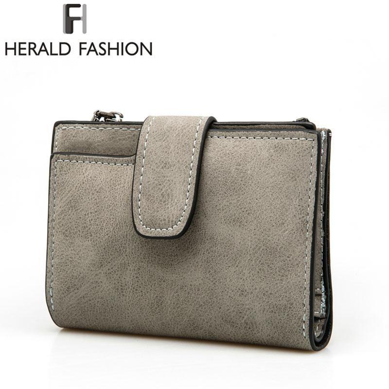 2e0a2040ec49c Herald Fashion Lady Letter Wallet Zipper Short Clutch Solid Vintage Matte  Women Wallet Fashion Small Female Purse Short Purse
