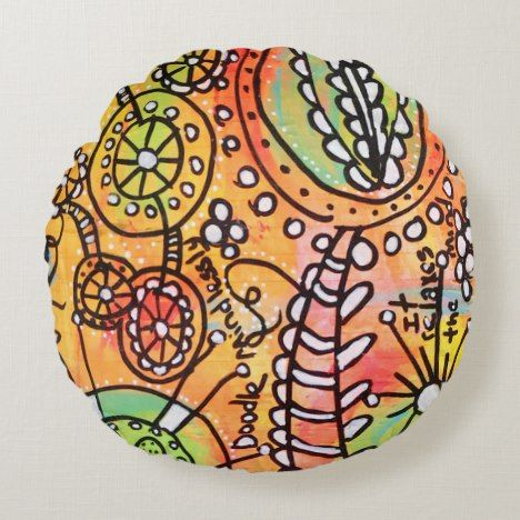 Colorful Abstract Floral Art Doodle Orange Yellow Round Pillow