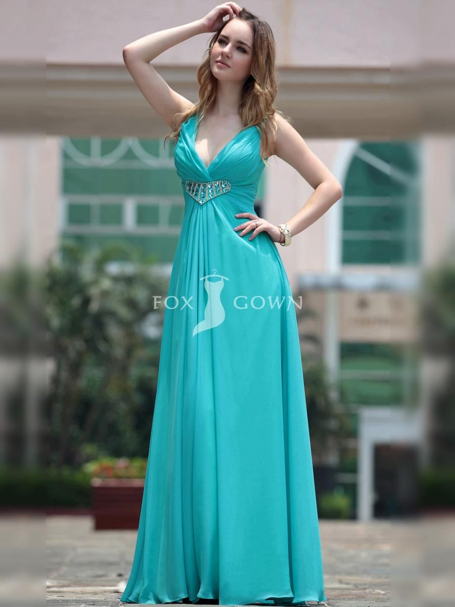 Lake Blue Deep-V Neck Long Formal Dress with Beadword on Waist - not ...