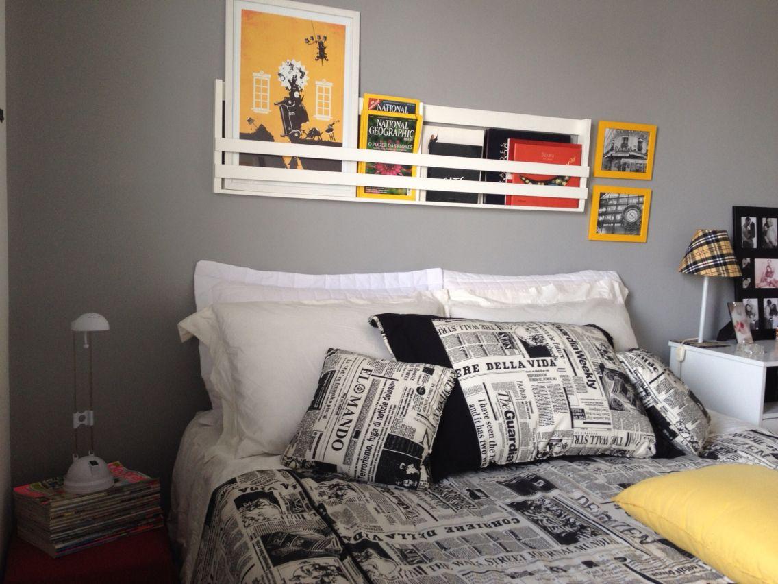 Quarto Do Casal Neutro E Com Toque Amarelo Estimulando A  ~ Quadros De Fotos Para Quarto E Aluguel Quarto Salvador