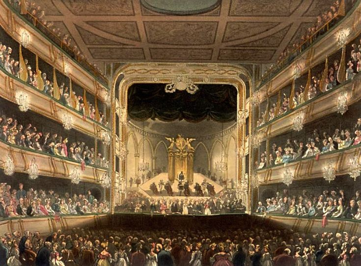 THE ROYAL OPERA HOUSE,  COVENT GARDEN, London, England ~The first theatre rendered shortly before it burned down,1808.