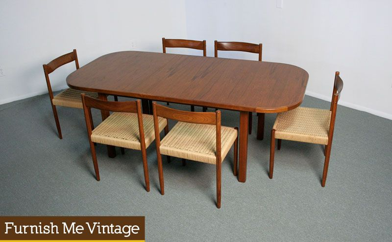 Vintage Danish Modern Teak Dining Table Rounded Edge New