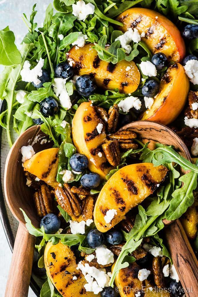 Grilled Peach Salad with Curry Pecans & Honey Vinaigrette | The Endless Meal