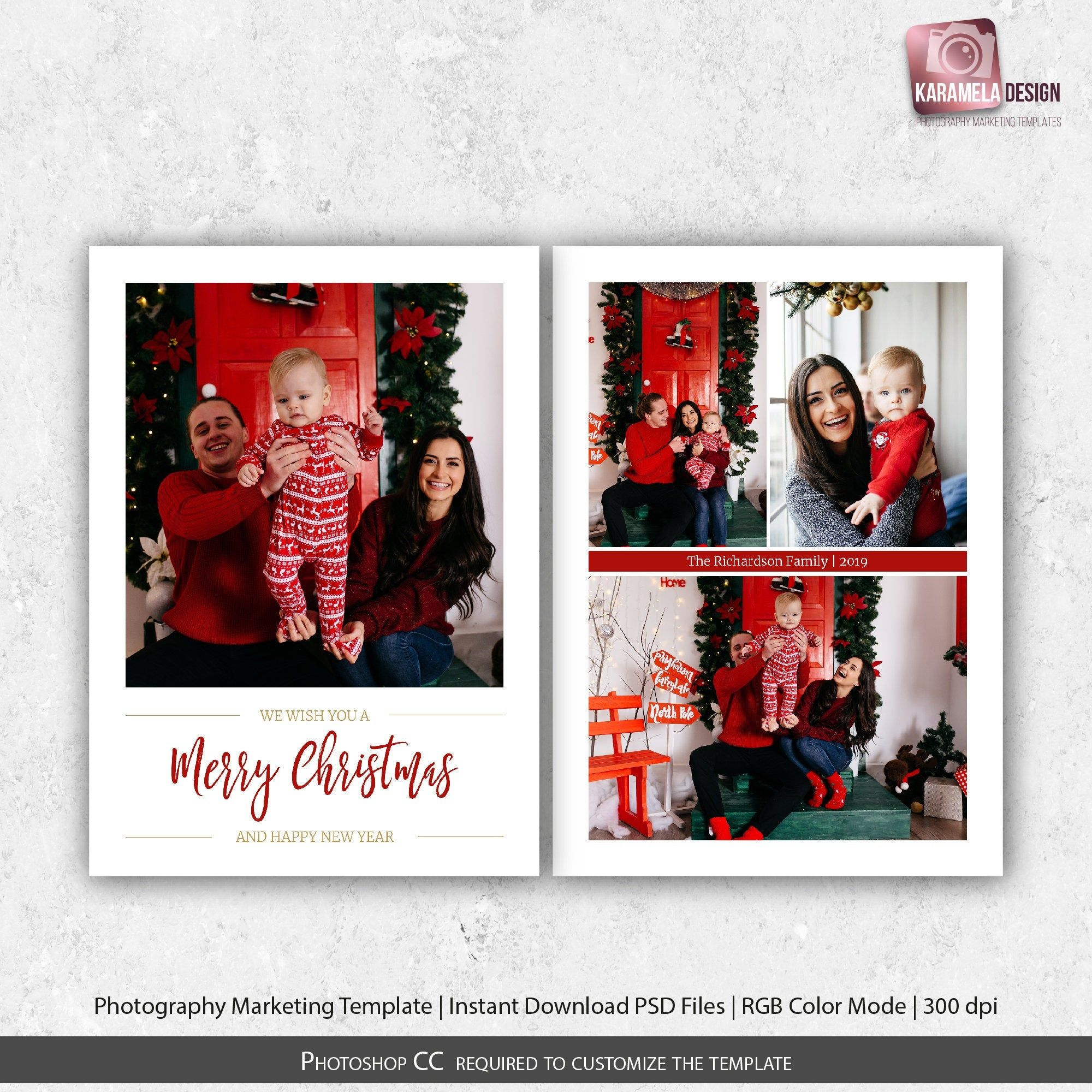 Printable Greeting Card Template Photo Collage Christmas Card Etsy Photo Collage Christmas Card Christmas Cards Photography Digital Holiday Cards