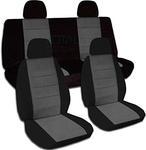 Twotone Car Seat Covers W 4 2 Front 2 Rear Headrest Covers Black Charcoal Universal Fit Full Set Buckets Benc Jeep Wrangler Jeep Wrangler Jk Jeep Liberty