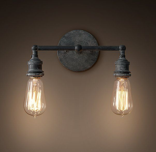 20th C. Factory Filament Bare Bulb Double Sconce | Laundry rooms ...