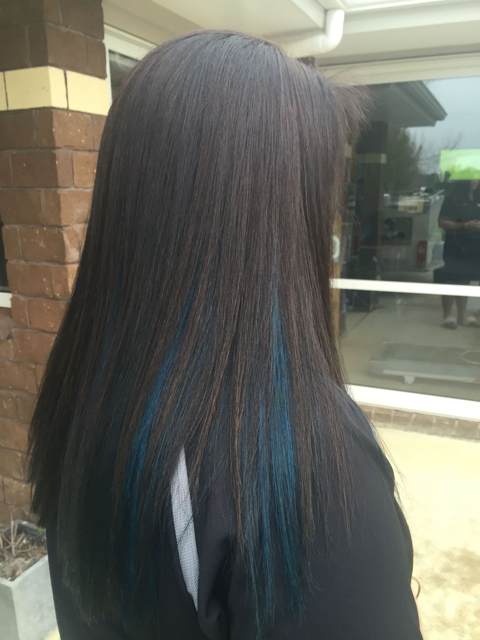 Peekaboo blue highlights Hair Pinterest
