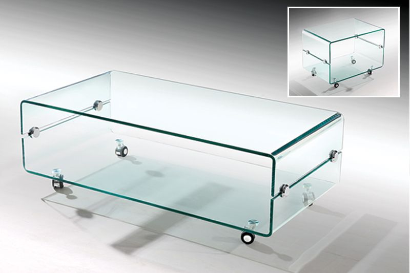 M 002 Glass W Casters Cocktail Table At Metro Decor Furniture.