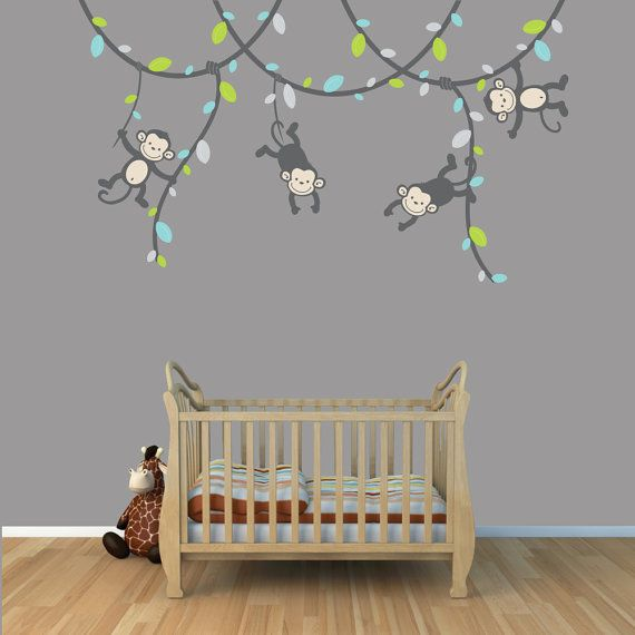 gender neutral wall decals on Monkey Wall Decals With Gray Vines Gender Neutral Jungle Kids Etsy Baby Nursery Wall Decor Monkey Wall Stickers Monkey Wall Decals