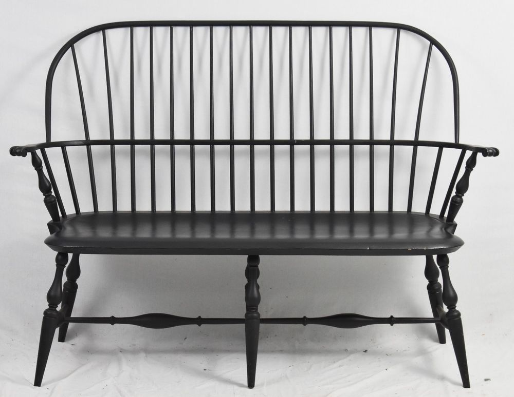 Bench Made Black Windsor Bench Settee Williamsburg Style Unbranded Colonial Windsor Bench Bench Settee