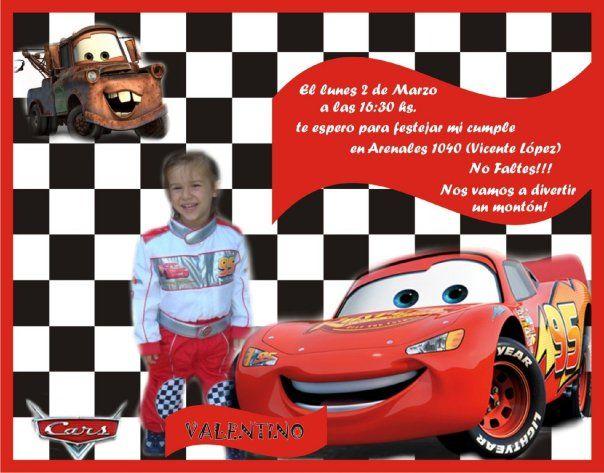 Invitaciónes Con Fotomontaje De Cars Gratis Imagui Cars
