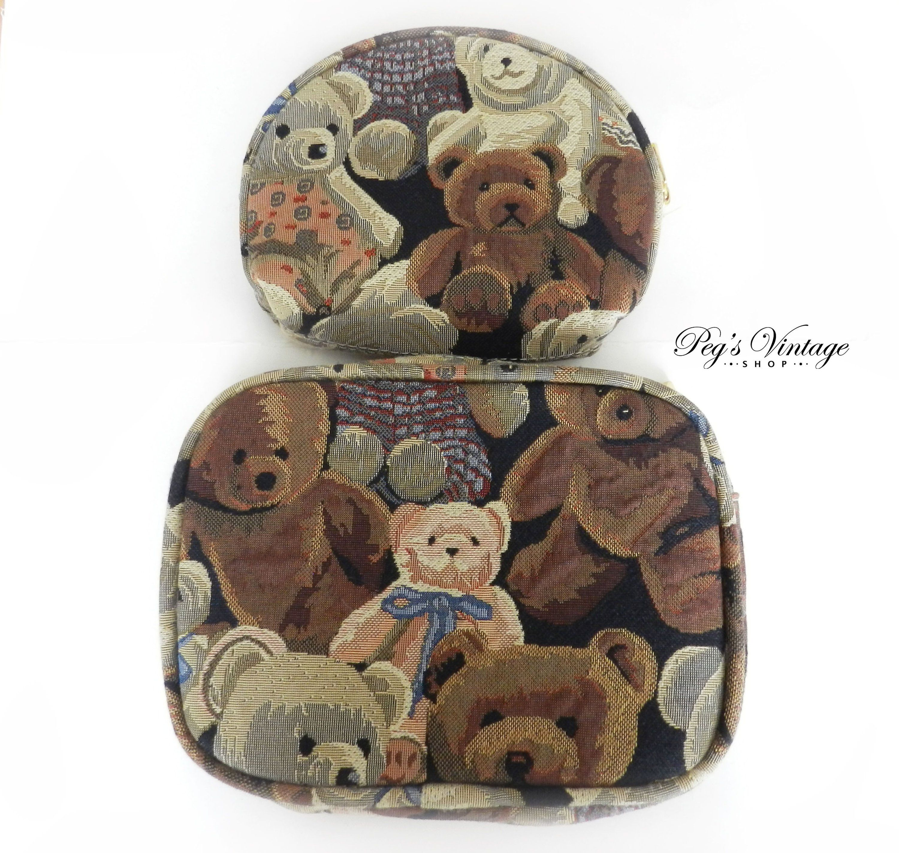 Teddy Bear Print Tapestry Makeup Bags, Set Of Two Travel