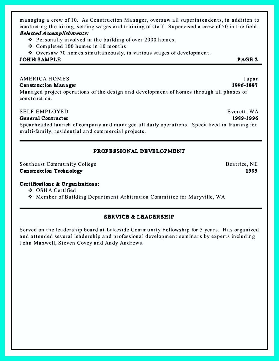 awesome Simple Construction Superintendent Resume Example