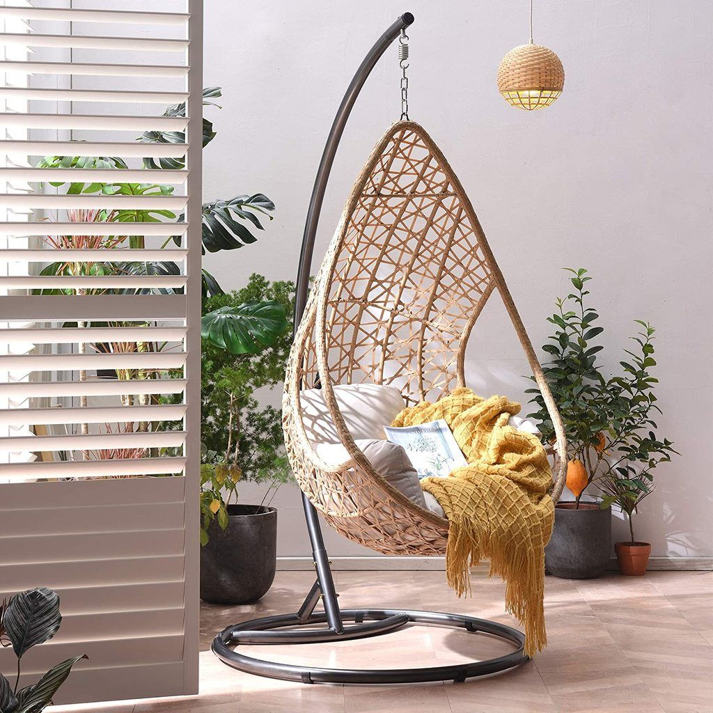 Indra Rattan Effect Patio Hanging Egg Chair in 2020