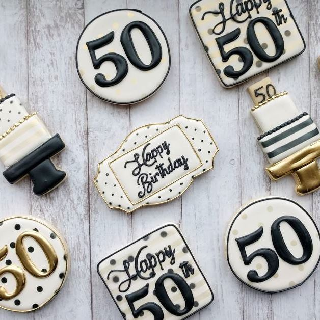 Black And Gold 50th Birthday #cookies #decoratedcookies