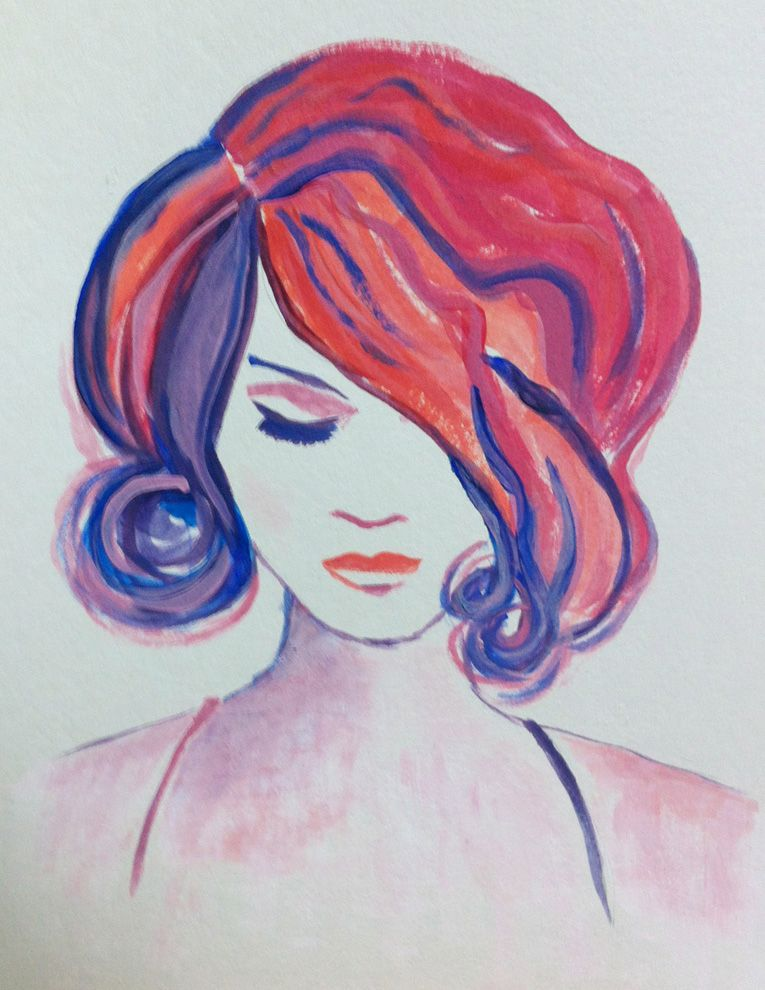 #showtime #woman #blue #pink #painting