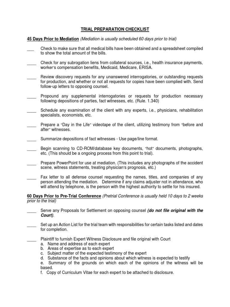 Trial Preparation Checklist Deposition Law Discovery Checklist Trials Preparation