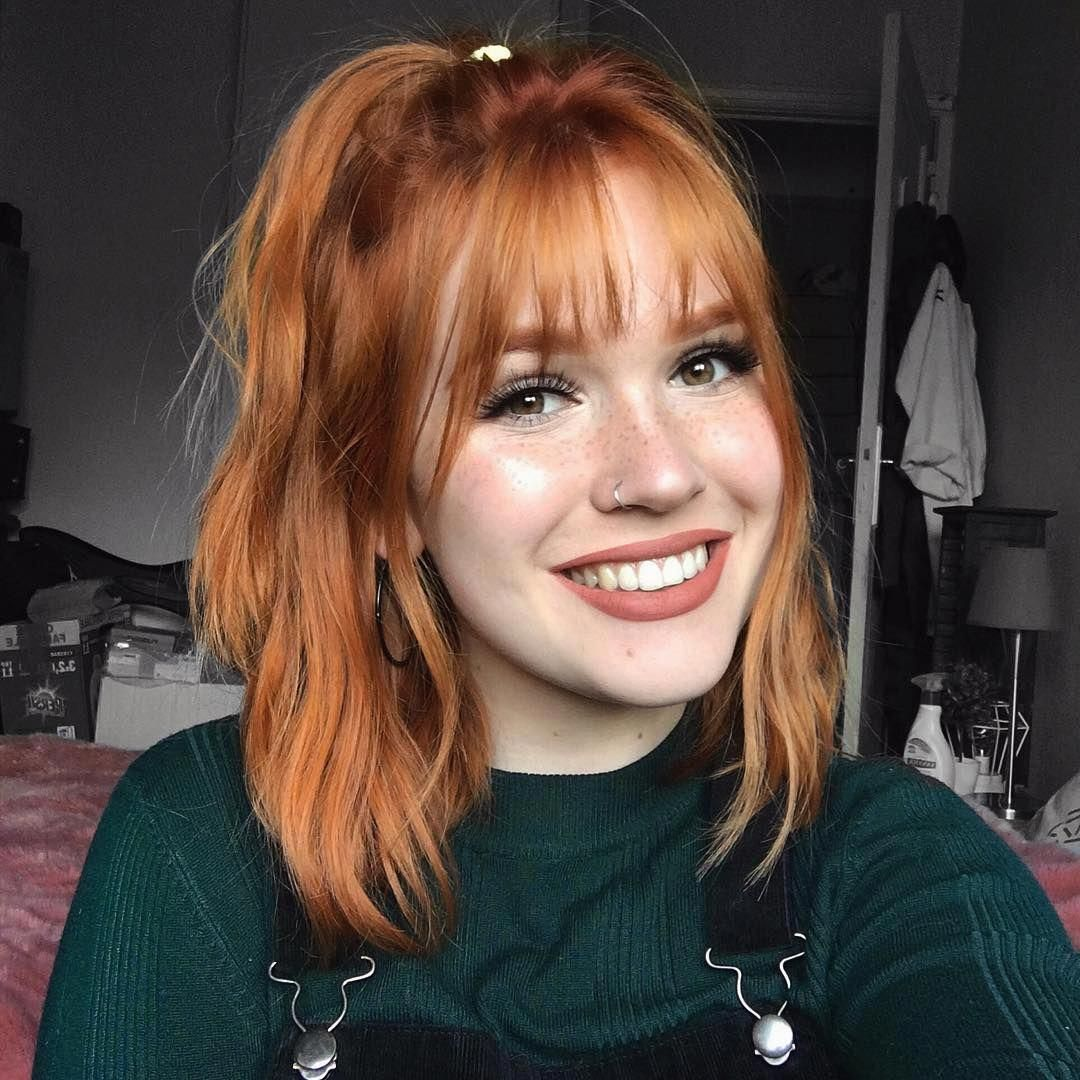 Smile Bedroom Daylight Ginger Redhair Freckles Bangs Beautifulredhair Ginger Hair Color Red Hair With Bangs Short Red Hair