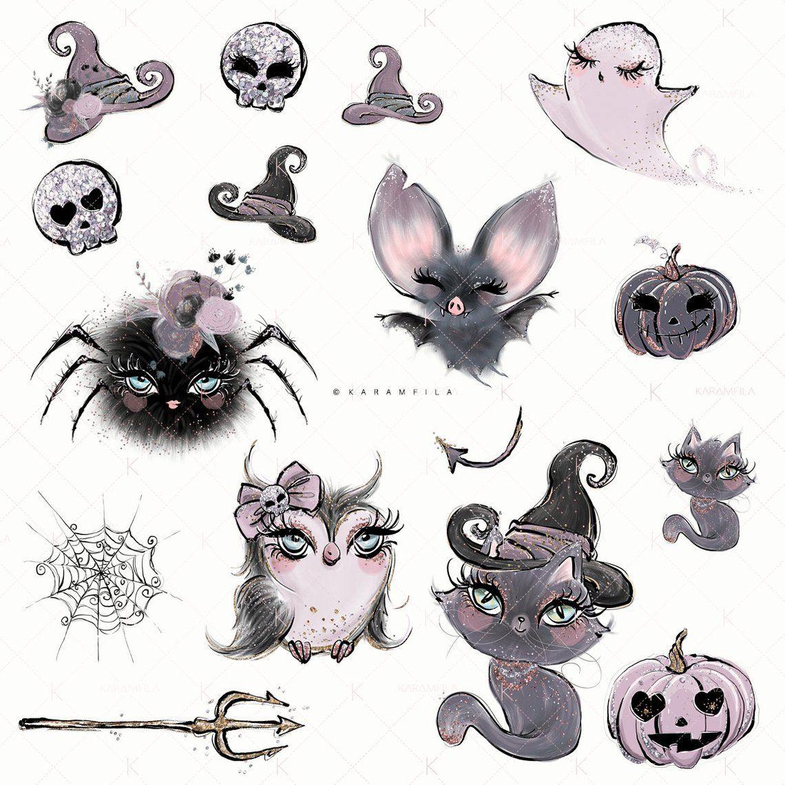 Halloween Clipart Gothic Dolls Halloween Planner Stickers