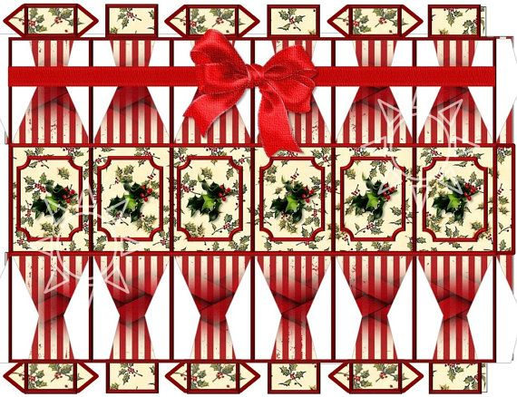Printable JPEG Christmas Cracker. Christmas cracker/gift cracker Hexagonal design by SimplyDRave, $2.00 I enjoy designing these, and they are simple and fun to make. Thanks for looking.