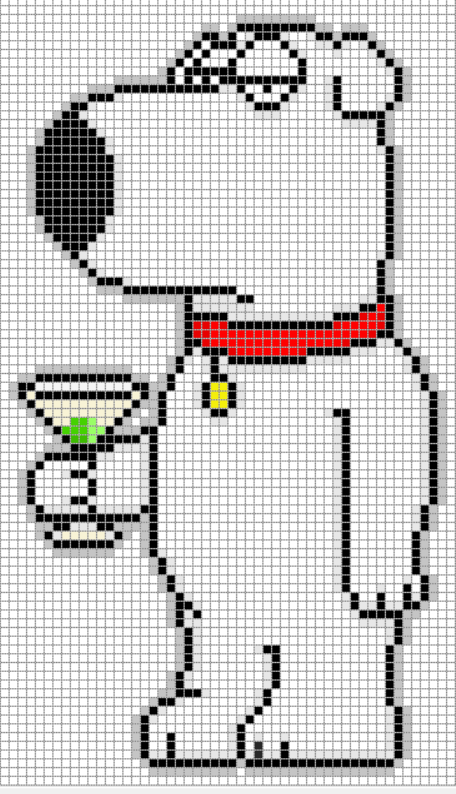 Brian Griffin Family Guy Perler Bead Pixel Art Graph