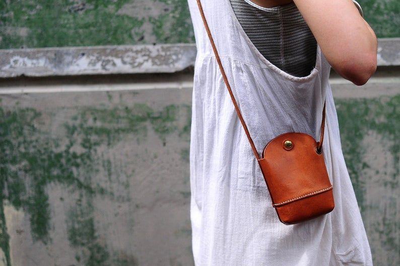 Photo of Hand Stitched Leather phone Case/ Small Pouch