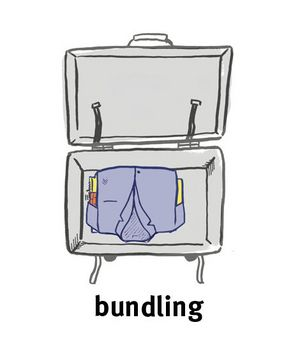 Illustration of bundled clothing in a suitcase