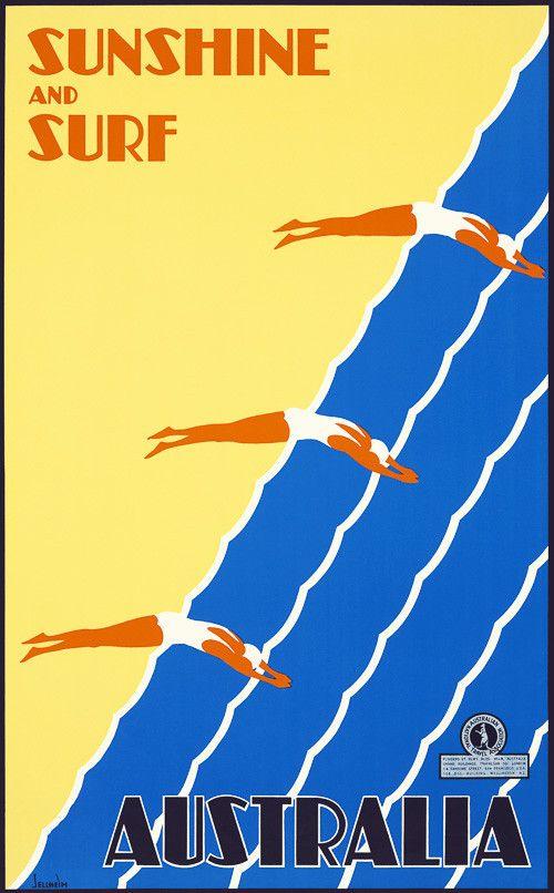 Australia Sunshine And Surf Vintage Travel Poster Retro Travel Poster Surf Poster Travel Posters