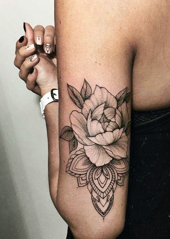 Love the realistic flower over the mandala tattoos for Good girl tattoos
