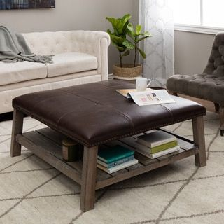 For Antonio Vintage Leather Grey Finish Wood Coffee Table Ottoman Get Free Shipping