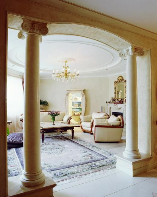 Classic columns are made of granite and marble precious