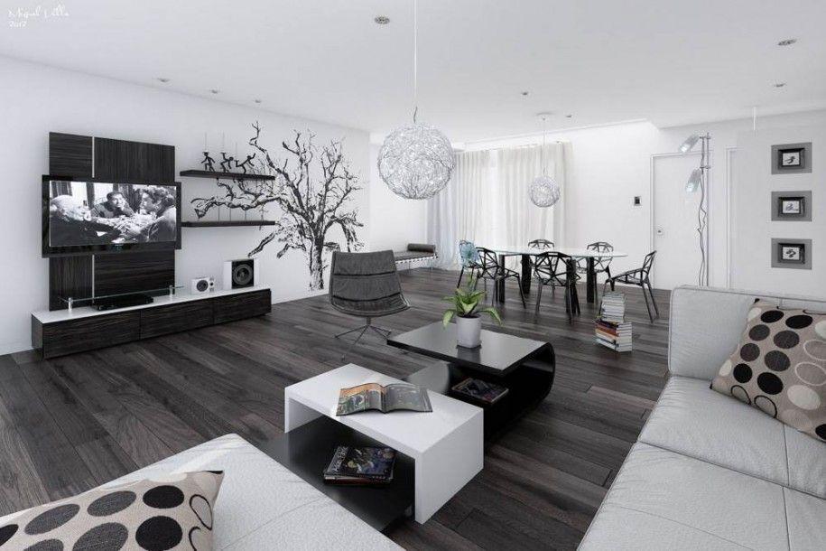 20 Wonderful Black And White Contemporary Living Room Designs LOVE The Dark Floor