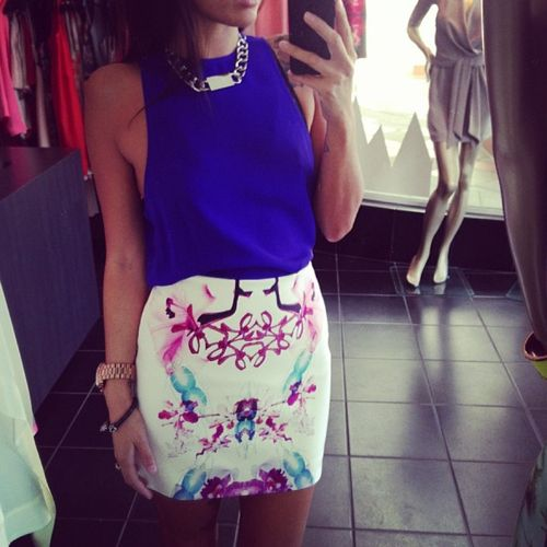Blue top + white/pink skirt