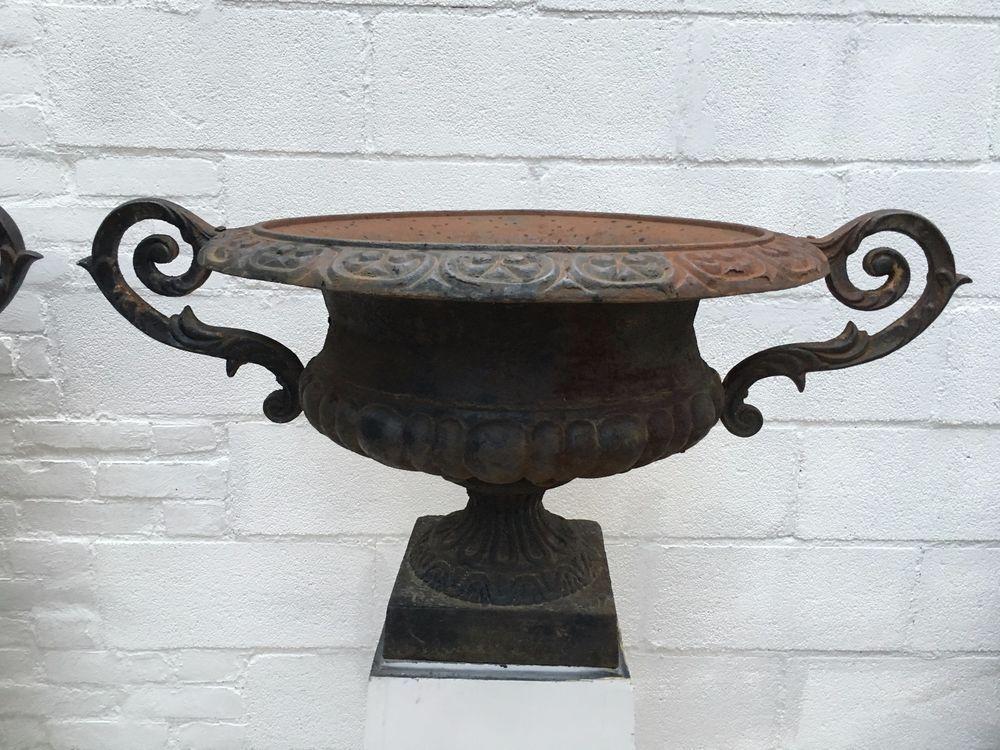 Vintage Cast Iron Planters Cast Iron Victorian Style Urns Pair Of Urns Iron Planters Planters Urn