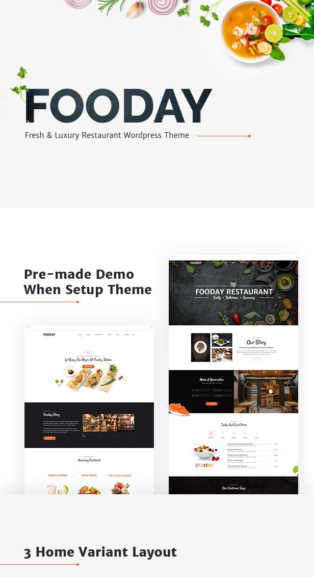 Fooday - Fresh & Luxury Restaurant, Coffee WordPress Theme