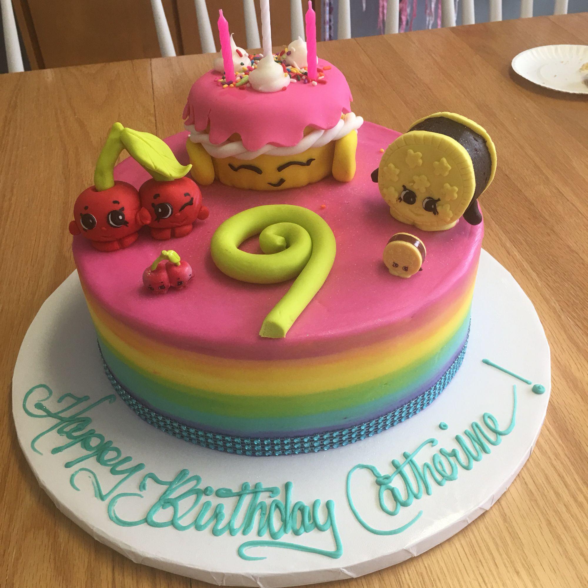 Rainbow Shopkins Cake With Mini Cake Wishes, Fondant Cheeky Cherries And  Brownie Cream E Cookie