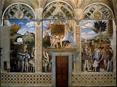 North wall of the camera picta, again painted by Andrea Mantegna c. 1474. The north wall depicts Ludovico and his children, but most importantly outlines his son, Francesco, who had at this point in time recently been elected as cardinal.