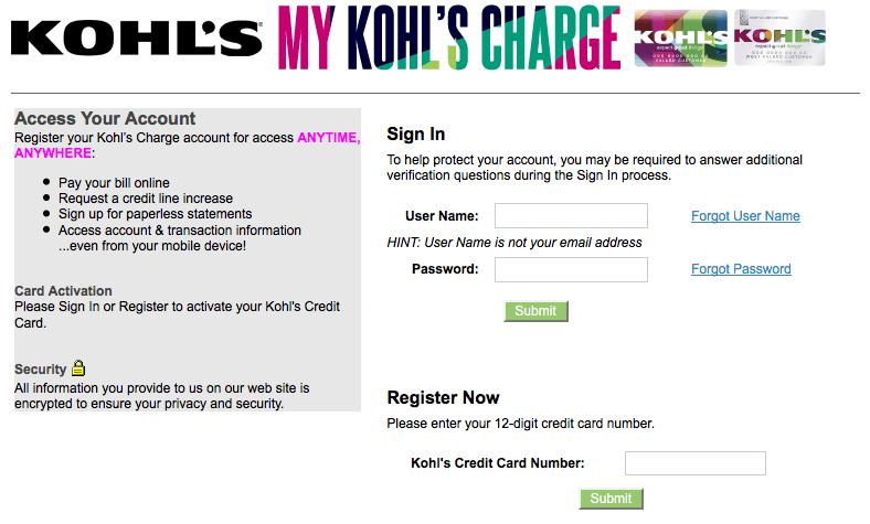Kohls Credit Card Login Mykohlscharge Online Login Paying Bills Method