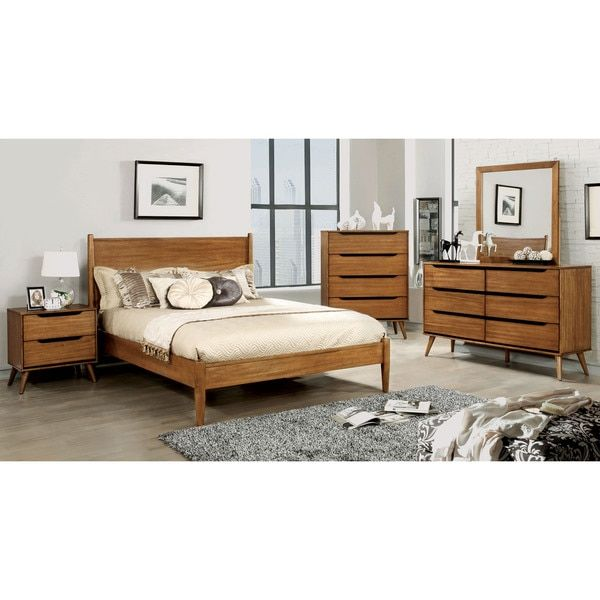 Furniture Of America Corrine Mid Century Modern King Size Platform Bed