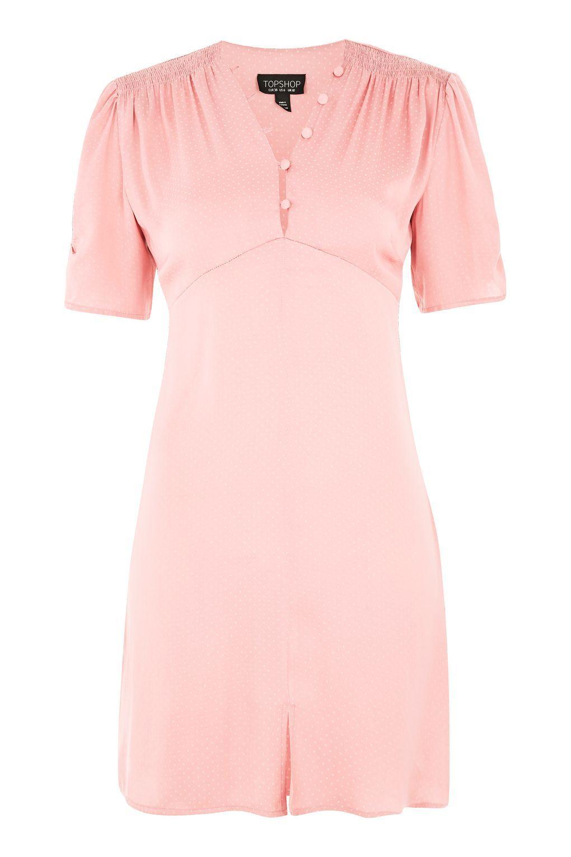 Pink dress topshop  Jacquard Spot Mini Tea Dress  Christmas  Pinterest  Minis