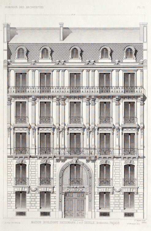 Elevation of an apartment building on boulevard haussmann for Apartment building drawing
