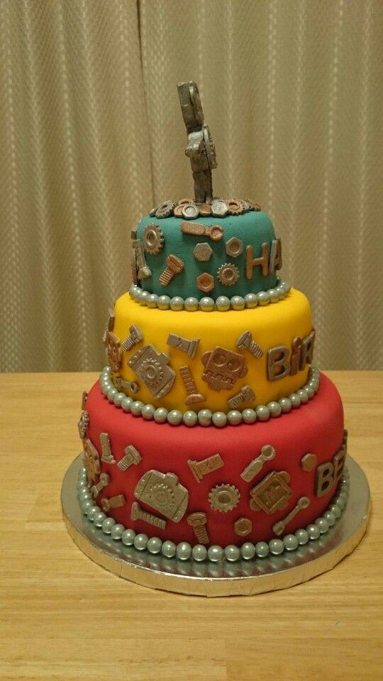 Robot Birthday Cake Side View Robot Birthday Party Pinterest