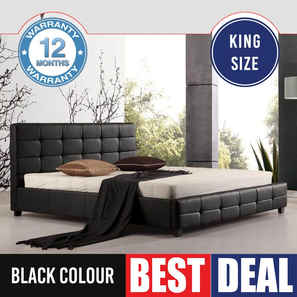 New King Size Bed Frame Black Luxury Thick Padded PU Leather Slat ...
